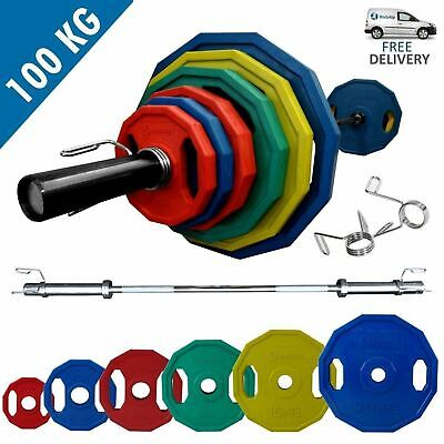 BodyRip POLYGONAL COLOURED OLYMPIC WEIGHT SET OF 100KG INCLUDING BARBELL COLLARS