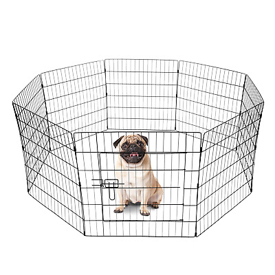 8 Panel Pet Playpen For Dog Puppy Rabbit Portable Cage Run Pen Folding Fence