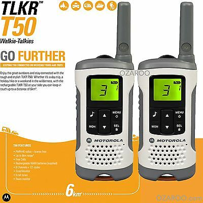 6KM MOTOROLA TLKR T50 Digital Rechargeable 2-Way Walkie Talkie Twin Set +Charger