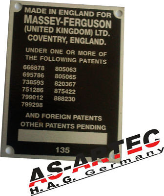 typenschild schild massey ferguson mf 35 135 65 traktor. Black Bedroom Furniture Sets. Home Design Ideas