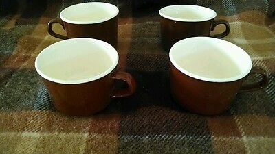 Vintage USA Brown COFFEE CUPS White Interior heavy  poss. Hall
