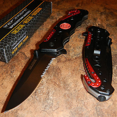 TAC FORCE Spring Assisted Opening FIRE FIGHTER FIREMAN Rescue Pocket Knife NEW!!