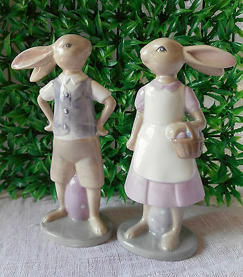 Set Of 2 Very Cute Easter Porcelain  Rabbits  Standing Having A Conversation