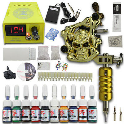 Complet Tattoo Kit de Tatouage 1 Machines Gun à Tatouer 10 Encre Set Needle J02A