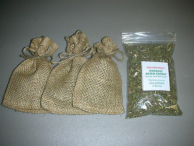 Fresh ORGANIC Dried Catnip 3 Small Burlap Bags Refillable + 1oz Catnip = 1.70 oz