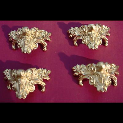 4 Metal ormolu corners (#3). For mantle clock or furniture decorations