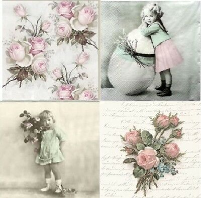4 x Table PAPER NAPKINS FOR DECOUPAGE / CRAFT / LOVELY MIX  /TEA PARTY / SAGEN