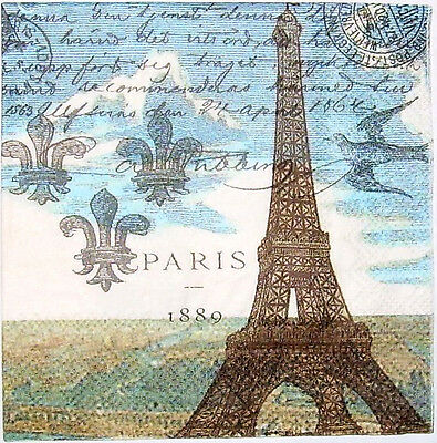 THREE (3) Paris Eiffel Tower Cocktail Napkins for Decoupage and Paper Crafts