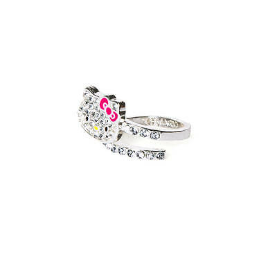 Hello Kitty Sanrio Pave Crystal Wrap Ring Sparkle Bling Fashion Ring Size 7 New