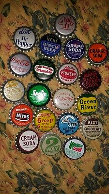 20 Rare Diff Cork Bottle Caps  Dr Pepper Hires Orange Soda Pioneer Black Cherry