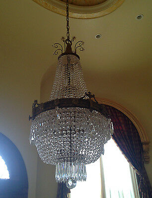 Antique Essex House Hotel Beaded Crystal Gilt Brass Chandelier