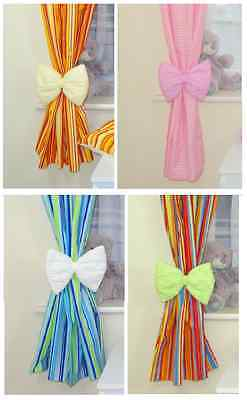 Baby Nursery Bow Curtain Tie Backs ( Pair - 2 Pieces )