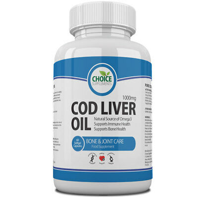 Cod Liver Oil 1000mg High Strength Soft-gel Capsules Free P&P