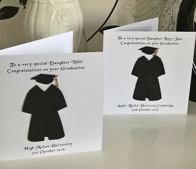 """Graduation Gown and Hat Degree Card Personalised 6"""" Daughter Son Grandchild Exam"""