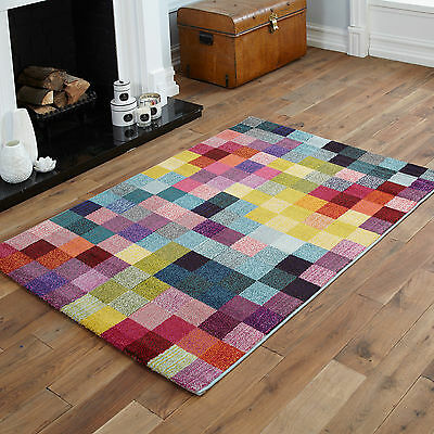 New Orange Red Brown Yellow Pink Box Pattern Multi -Colour Best Design Rugs