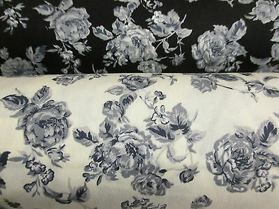Gothic Vintage Floral/Flowers/Roses 100% Cotton Poplin Printed Fabric.