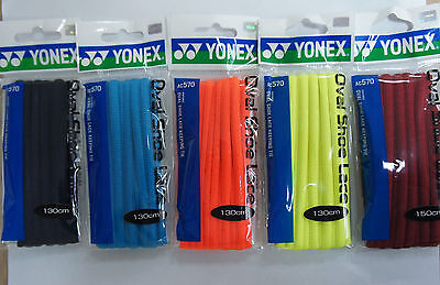 One Pair Yonex AC570 Oval Shoes Laces, Red, Yellow, Orange, Black or Blue