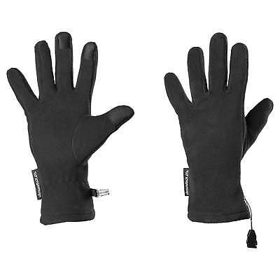 Kathmandu Mens Womens Versatile Warm Fleece Gloves Suede Fingertips v5 Black