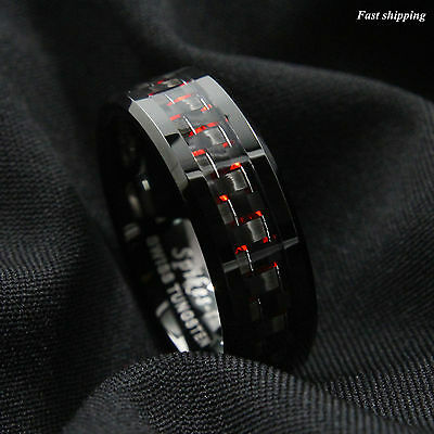 Men's Tungsten Ring with Carbon Fiber 8mm Black and red Wedding Band men jewelry