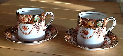 Two Royal Albert Crown China 'Devon Pattern?' 3961 Coffee Cans & Saucers C1930