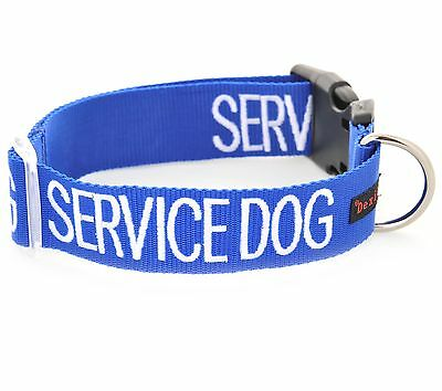 SERVICE DOG Blue Nylon S M L XL XXL Buckle Semi Choke Collar Or Luxury Lead Sets