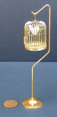 1:12 Scale Dolls House Miniature Metal Bird Cage On A Stand Pet Accessory
