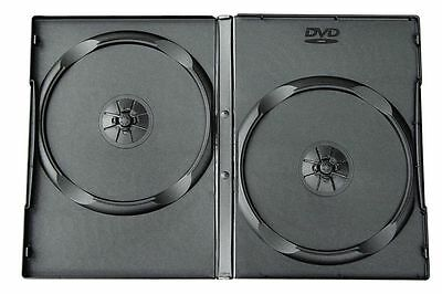 100 x 14mm Double DVD 2 Way Case Cases Spine Storage Black Front Cover Sleeve
