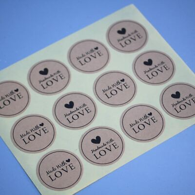 Round Kraft Sticker 'Handmade With Love' x 36 - Rustic Vintage Style