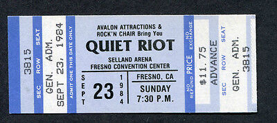 1984 Quiet Riot Whitesnake Unused Concert Ticket Fresno CA Cum On Feel The Noize