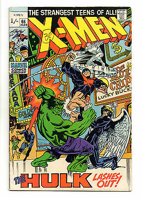 X-Men Vol 1 No 66 Mar 1970 (FN+) Hulk appears, Last issue with original X-Men