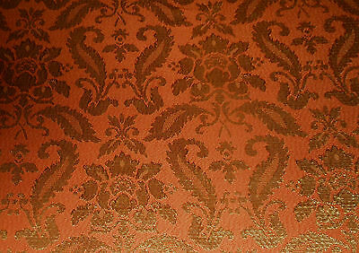 Vintage Retro Orange Olive Damask Fabric ~ Rococo Baroque pattern ~ 1970's retro
