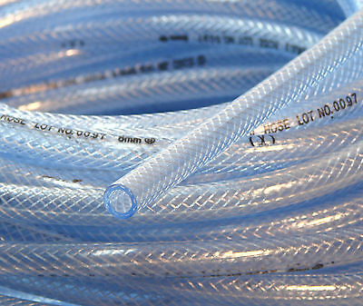 1 Meter of Hose High Pressure Braided Tubing PVC Clear Reinforced Water Delivery