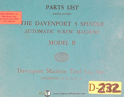 Davenport Model B, Screw Machine, 5 Spindle, Parts List and Illustrations Manual