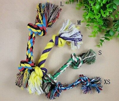 New Noverty Dog's Cute Puppy Pet Cotton Braided Bone Rope Chew Knot Toy M