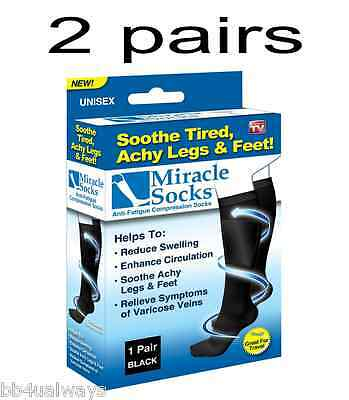 2 pairs Miracle Compression Socks Unisex Antifatigue Comfortable Relief Travel
