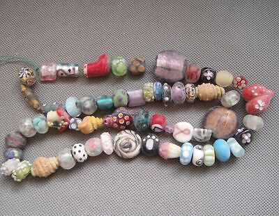 A string Rare Ancient Chinese Peking glass Carved Bead Necklace Y940