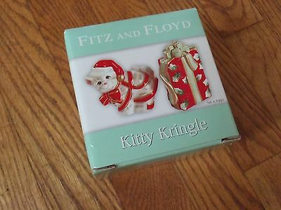 NEW FITZ & FLOYD KITTY KRINGLE SALT & PEPPER SHAKERS*NEW IN BOX*BOX 34