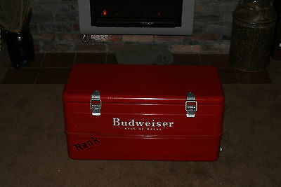 """NICE VINTAGE 1950'S BUDWEISER ' KING OF BEERS """"  METAL COOLER WITH TRAY & DRAIN"""