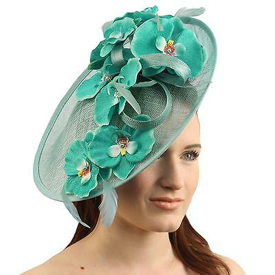 Orchid Floral Feather Handmade Derby Headband Fascinator Millinery Church Teal