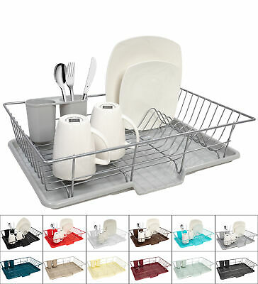 Home Basics 3 Piece Kitchen Sink Dish Drainer Set Six Colors To Choose From