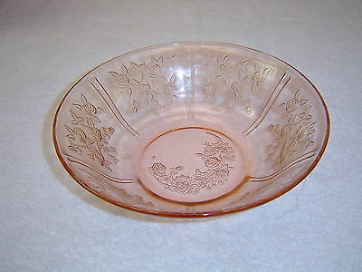 "Federal Glass Sharon 'Cabbage Rose"" Pink Fruit Bowl"