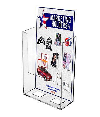 "Clear Acrylic Wall - Mount Brochure Holder for 4"" w Literature"
