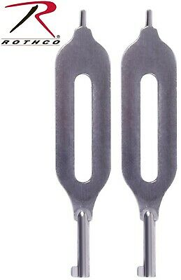 (2) Police Security Law Enforcement Open Slotted Handcuff Key Cuff Key 11092
