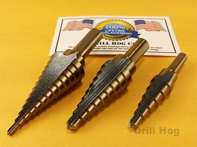 3 Pc Step Drill Bit Set REAMER Step Bit Set UNIBIT Lifetime Warranty Drill Hog®