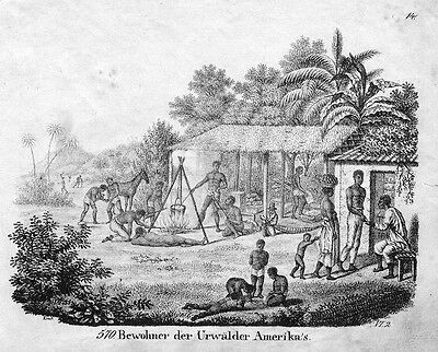 1830 - Amerika America Indians costumes Lithographie lithograph antique print