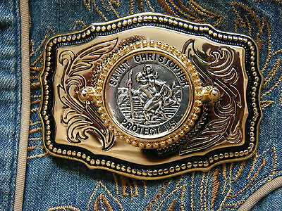 New Hand Crafted In The U.k.  St Christopher Belt Buckle Gold Metal,western