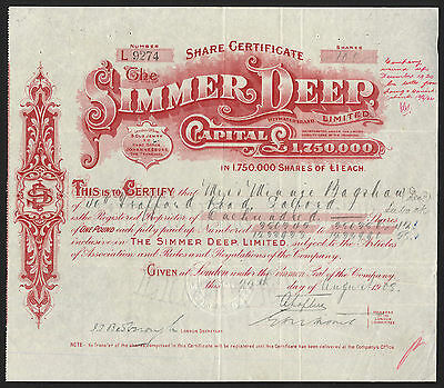 SOUTH AFRICA, Simmer Deep Ltd., £1 shares, 1908, Witwatersrand