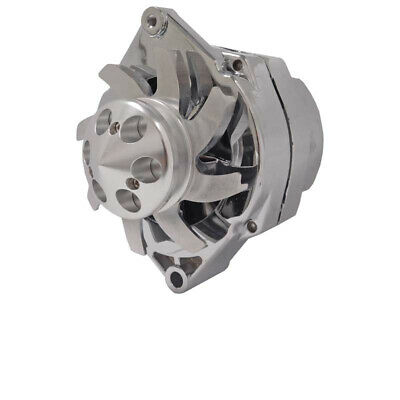 New Alternator W/ Billet Custom Pulley Self Exciting Low Cut In Chrome Finish
