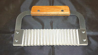 Soap - Wax Cutter - Vegetable Cutter -  Wavy Blade - Stainless Steel - Wood