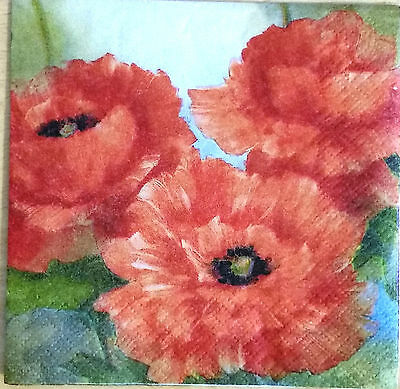 THREE (3) Red Poppies Cocktail Napkins for Decoupage and Paper Crafts